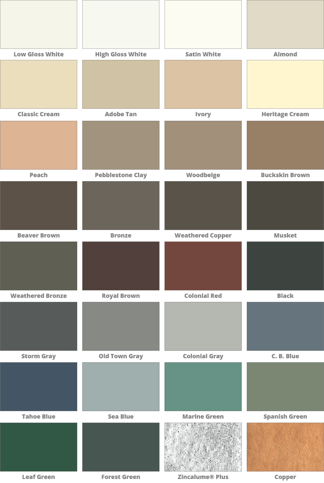 Rain Gutter Color Options